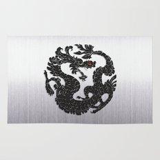 Black Oriental Dragon on Silver Rug