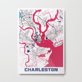 Charleston - United States MilkTea City Map Metal Print