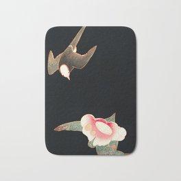 Japanese Woodblock - Swallow and Camellia Bath Mat