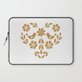 Golden heart shaped floral and bird Laptop Sleeve