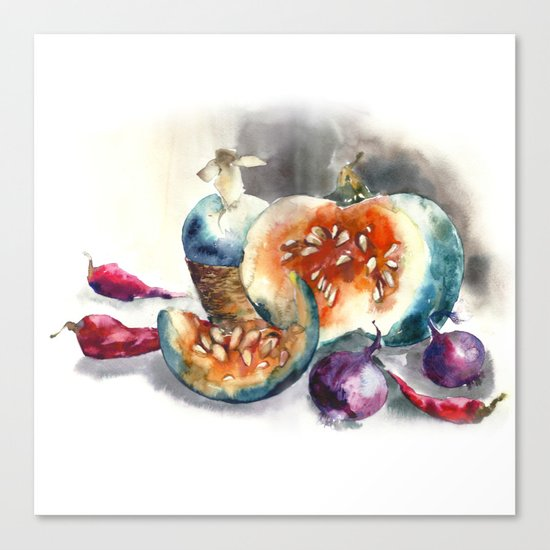 Watercolor harvest with vegetables, Thanksgiving Day Canvas Print
