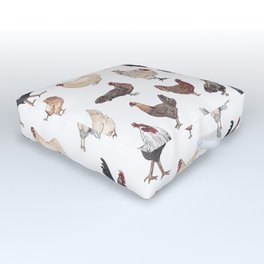 Chicken Happy (white) Outdoor Floor Cushion