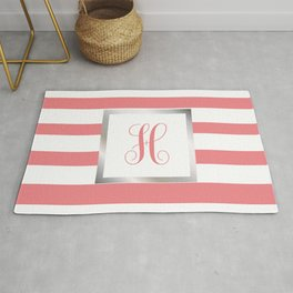 Monogram Letter H in Pink with Silver Frame Rug