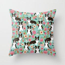 Brindle Cardigan Corgi Florals - cute corgi design, corgi owners will love this mint florals corgi Throw Pillow