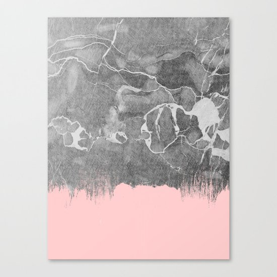 Crayon Marble with Pink Canvas Print