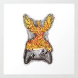 Phoenix Rising Over Game Controller Tattoo Art Print