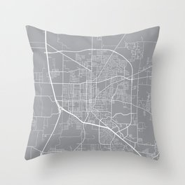 Denton Map, Texas USA - Pewter Throw Pillow