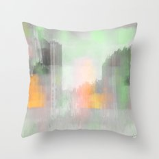 Colorful City in Gold Throw Pillow