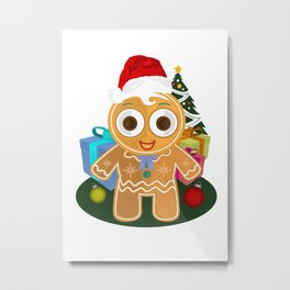 Christmas - Ginger Bread Man Metal Print