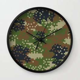 Pixel Woodland Camo Camouflage Pattern Wall Clock