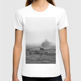 Horses in the Mist Black and White T-shirt