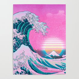 Vaporwave Aesthetic Great Wave Off Kanagawa Sunset Poster
