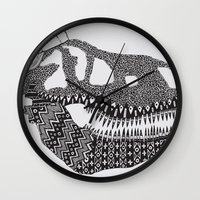 t rex Wall Clocks featuring T-rex by Surfing Shaman