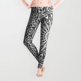 Dark Grey and White Mandala Leggings