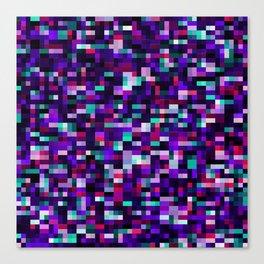 Purple pixel noise static pattern Canvas Print