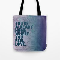 home sweet home Tote Bags featuring Home by Leah Flores