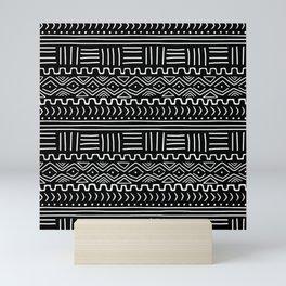 Mud Cloth on Black Mini Art Print