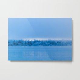 Mysterious fog over snowy lake Bohinj, Slovenia Metal Print