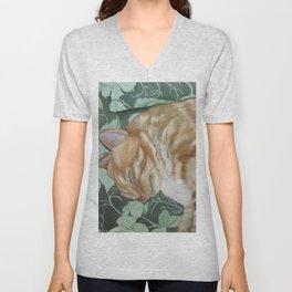 Catnap Sleeping Cat Painting Unisex V-Neck