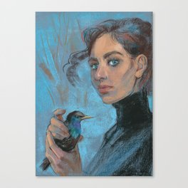 A girl with a starling Canvas Print