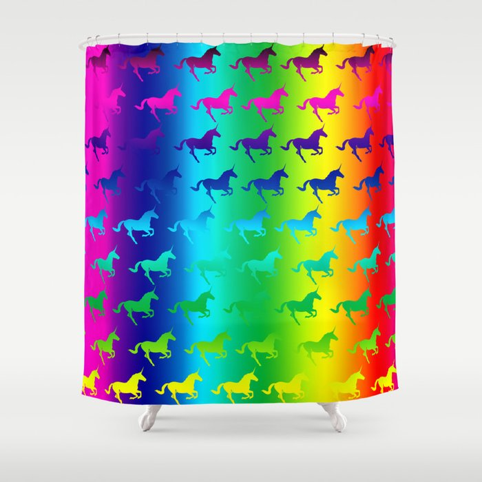 Psychedelic Unicorn Pattern Shower Curtain