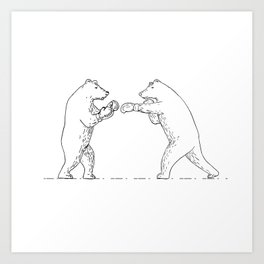 Two Grizzly Bear Boxers Boxing Drawing Art Print
