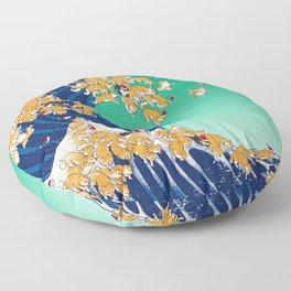 Christmas Shiba Inu The Great Wave Floor Pillow