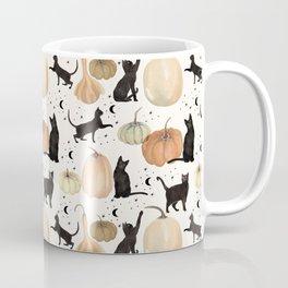 Black Cats Pumpkin Patch Fall Halloween Pattern Coffee Mug