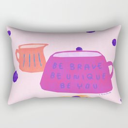 Be Brave Be Unique Be You Blueberry Cake Teatime Illustration Rectangular Pillow