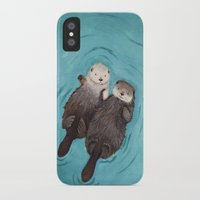 hands iPhone & iPod Cases featuring Otterly Romantic - Otters Holding Hands by When Guinea Pigs Fly