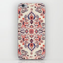 Modern Folk in Coral Red and Indigo iPhone Skin