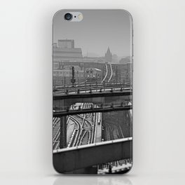 Tales of a Subway Train in Black and White iPhone Skin