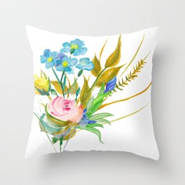 Beautiful Watercolor of Bouquet of Flowers Throw Pillow