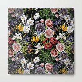 Vintage & Shabby Chic - Lush baroque flower pattern Metal Print