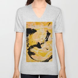 Sunflower Fields: A vibrant abstract contemporary design in yellow black and white by Alyssa Hamilton Art Unisex V-Neck