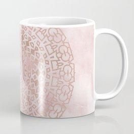 Misty pink marble rose gold mandala Coffee Mug