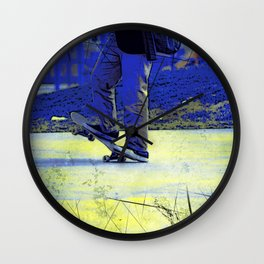Skateboarder Stance Wall Clock