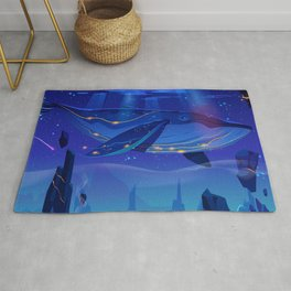 Synthwave Space: Whale in the sky Rug