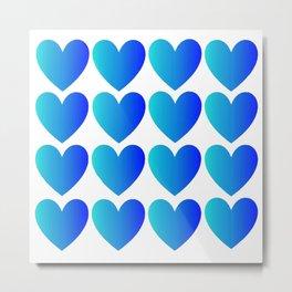 Love Hearts Classic Blue Ombre Metal Print