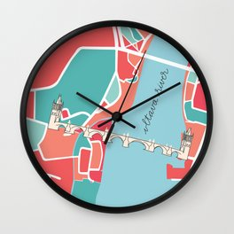 Prague Minimal Map Wall Clock