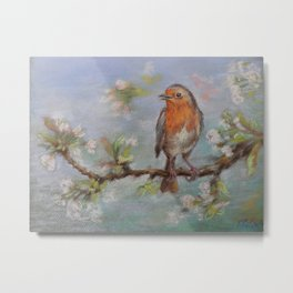 Red Robin Small bird on a blooming twig Wildlife spring scene Pastel drawing Metal Print