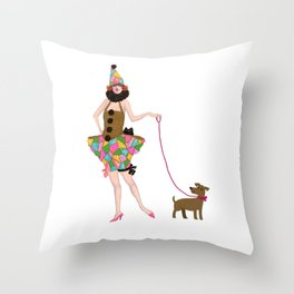 walk the walk puppydog and me Throw Pillow