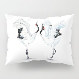 Dancing Japanese Red-crowned crane Pillow Sham