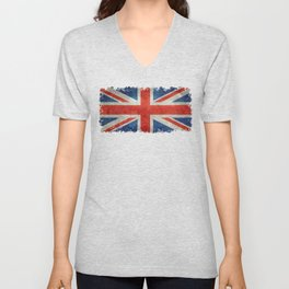 Union Jack flag, grungy retro 1:2 scale Unisex V-Neck