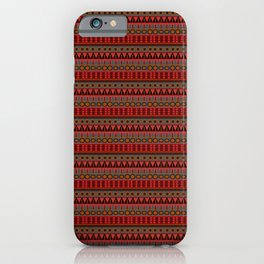 Aztec Tribal Motif Pattern in Red Mustard Salmon and Charcoal iPhone Case