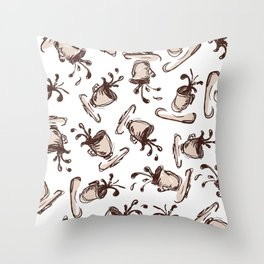 Flying cups with spilling coffee Throw Pillow