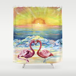 Flamingos in Lovers Delight Shower Curtain