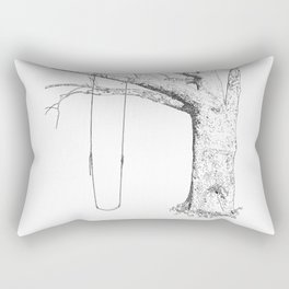 tree and swing, drawing black and white Rectangular Pillow