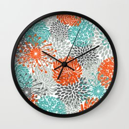 Orange and Teal Floral Abstract Print Wall Clock