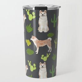 Akita dark cactus southwest dog pattern dog breed pet portraits by pet friendly Travel Mug
